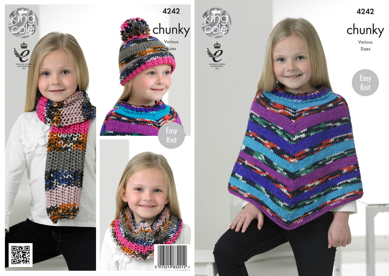 King Cole 4242 Knitting Pattern Poncho, Snood, Scarf and Hat in King ...