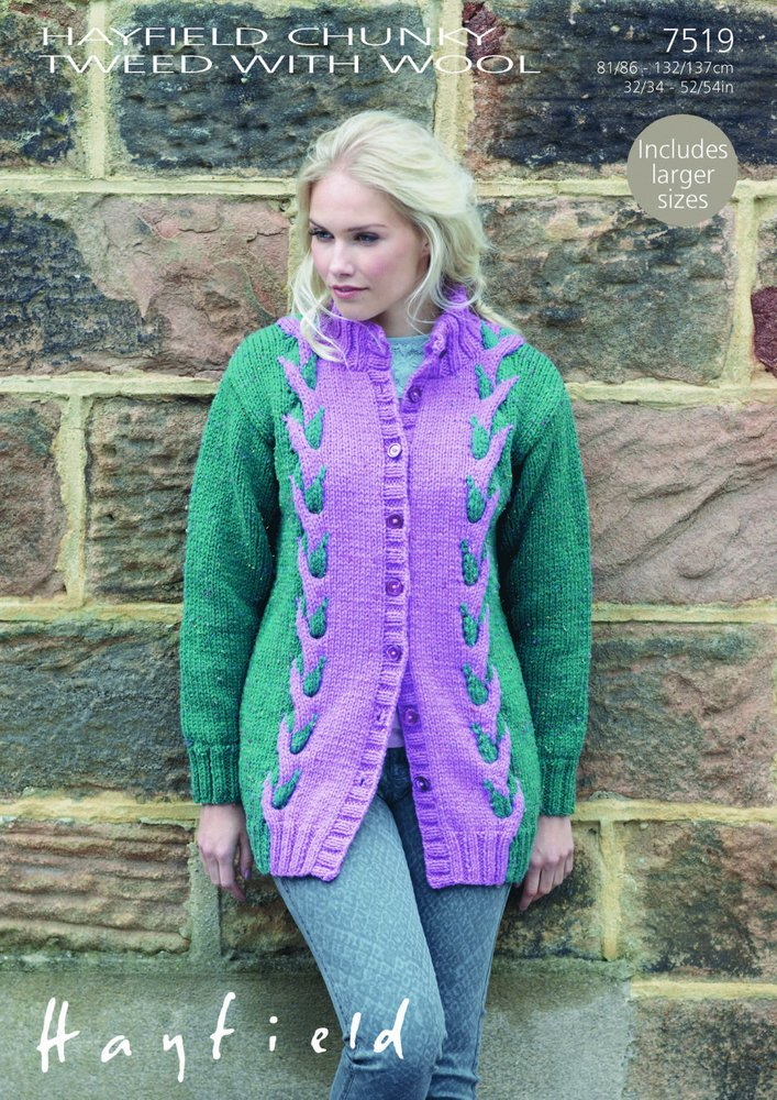 Sirdar 7519 Knitting Pattern Ladies Coat To Knit In Hayfield Chunky