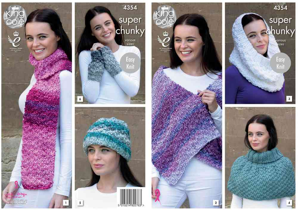 King Cole 4354 Knitting Pattern Scarf Wrap Snood Polo Shoulder