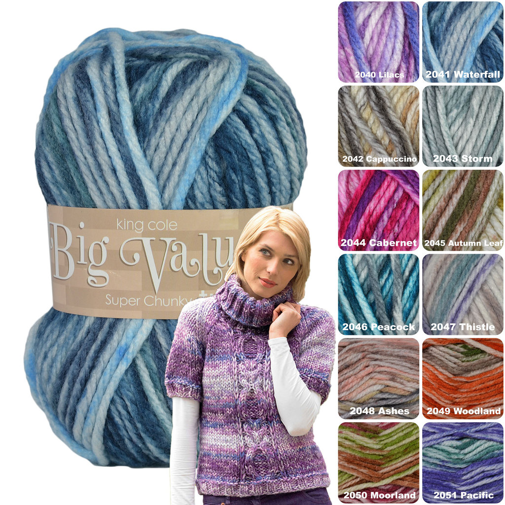 Knitting Yarn 100g Big Value Super Chunky King Cole