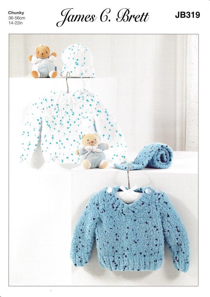 b231b0ecf James C Brett JB319 Knitting Pattern Baby Child Sweaters Hat   Scarf ...