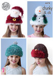 King Cole 4478 Knitting Pattern Childrens Christmas Hats in Tinsel Chunky