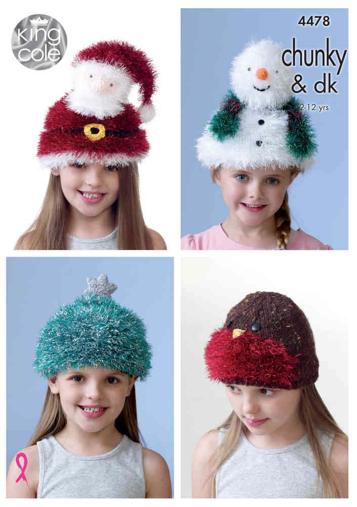 King Cole 4478 Knitting Pattern Childrens Christmas Hats in Tinsel ...