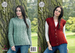 King Cole 4362 Knitting Pattern Sweater and Waistcoat in Big Value Super Chunky