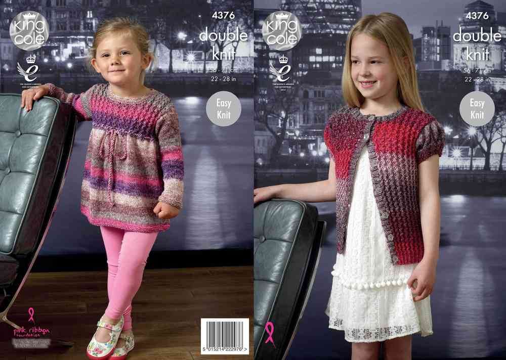 47d64e5d2 King Cole 4376 Knitting Pattern Cardigan and Top in King Cole Shine DK -  Athenbys