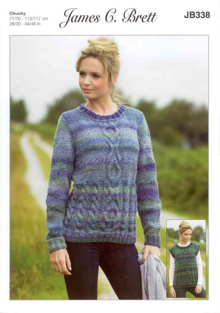 James C Brett Jb338 Knitting Pattern Sweater And Slipover In James C