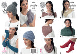 King Cole 4369 Knitting Pattern Hats, Scarf, Neck Warmers, Socks and Gloves in Baby Alpaca DK