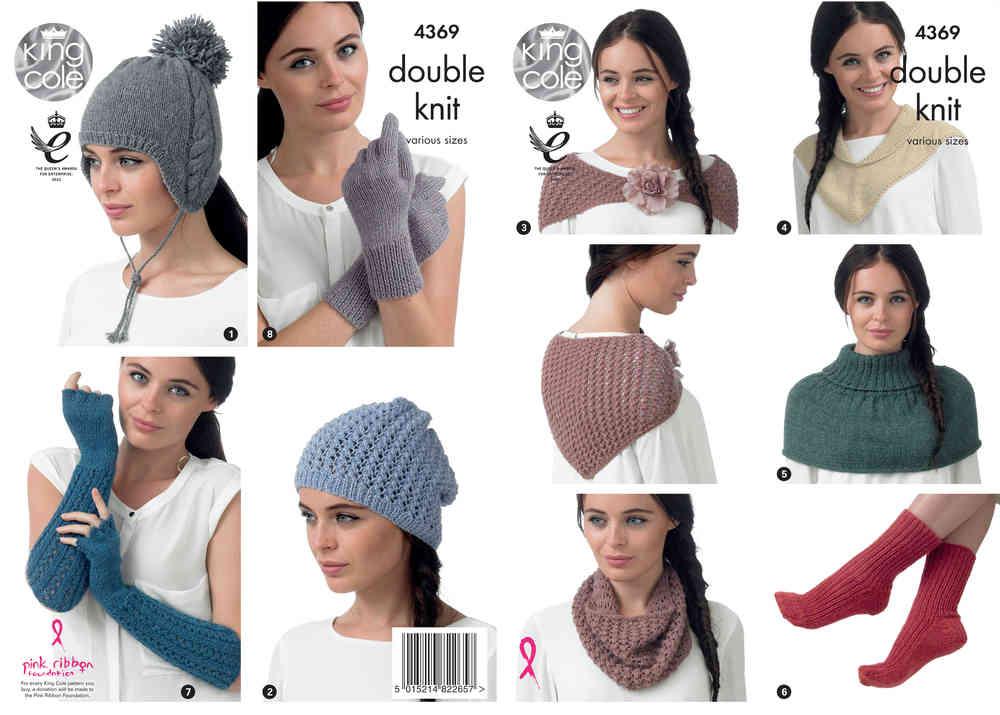 6a4fd9dd087 King Cole 4369 Knitting Pattern Hats