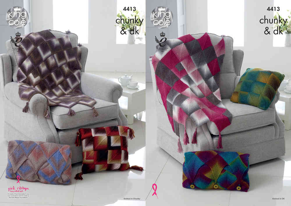 King Cole 4413 Knitting Pattern Throw and Cushions in King Cole Riot ...