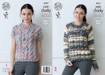 King Cole 4357 Knitting Pattern Raglan Sweater with Long & Short Sleeves in Gypsy Super Chunky
