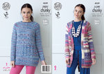King Cole 4359 Knitting Pattern Raglan Jacket and Sweater in King Cole Gypsy Super Chunky