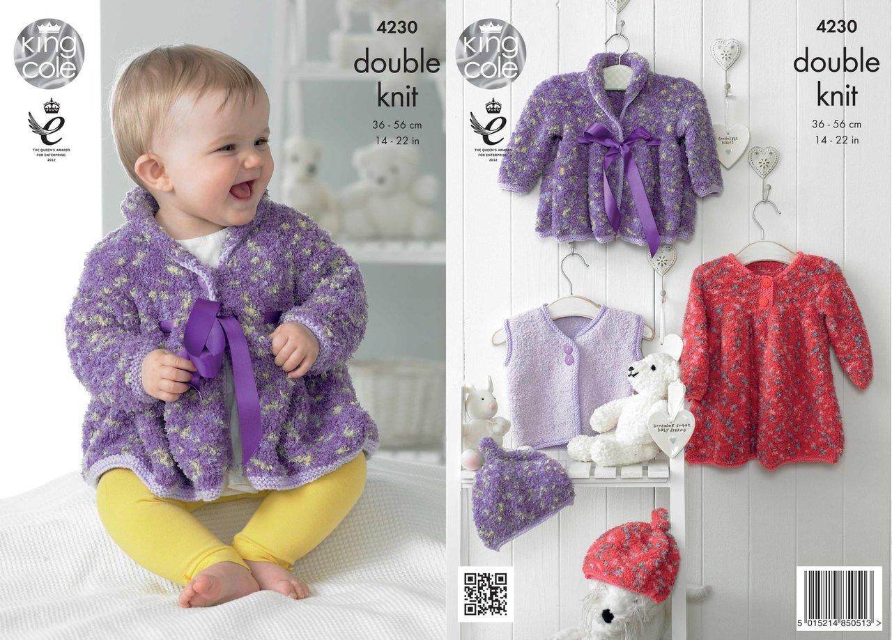 King Cole 4230 Knitting Pattern Baby Dress, Coat, Waistcoat and Hat ...