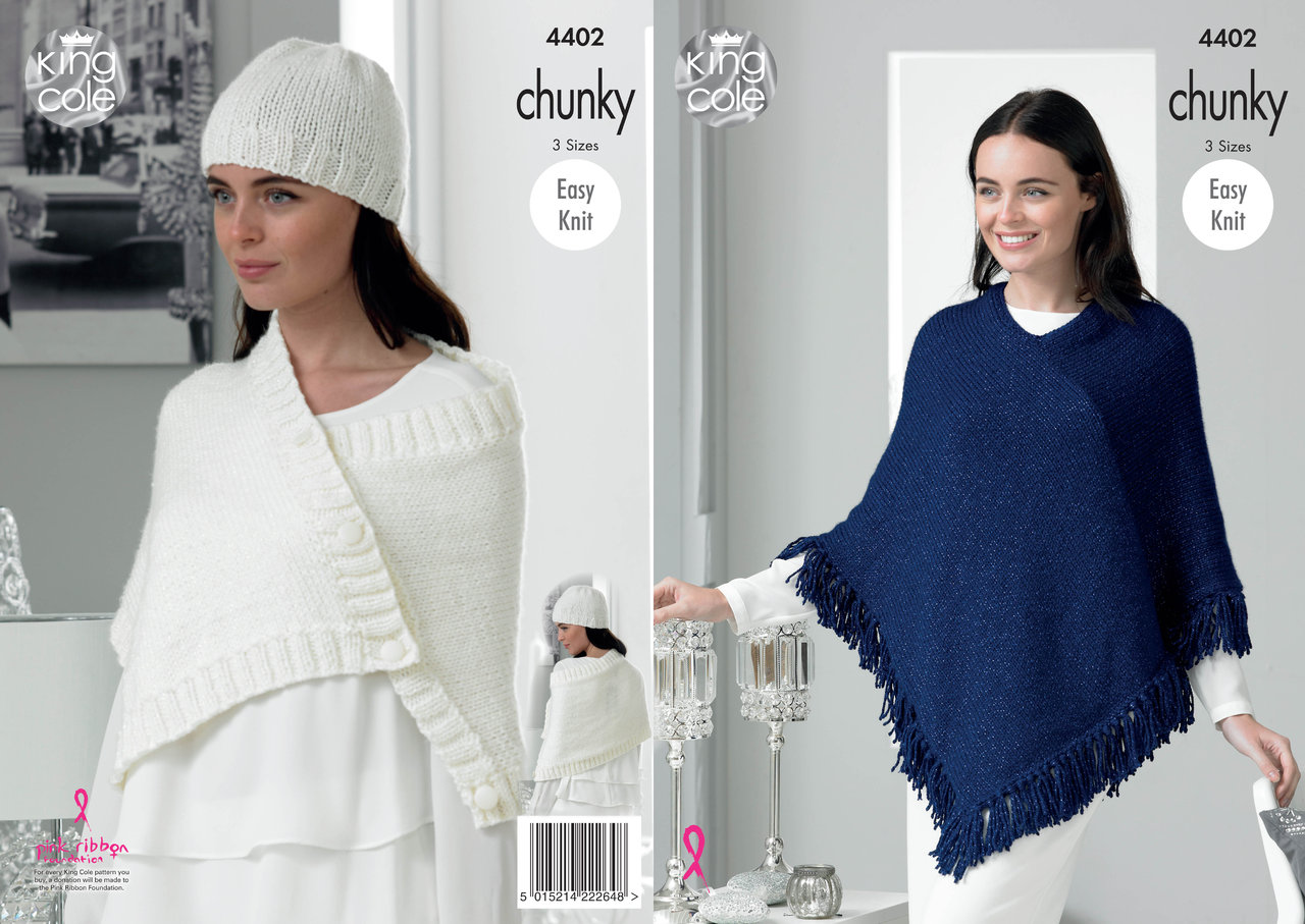 King Cole 4402 Knitting Pattern Lady\'s Poncho Wrap, Poncho and Hat ...