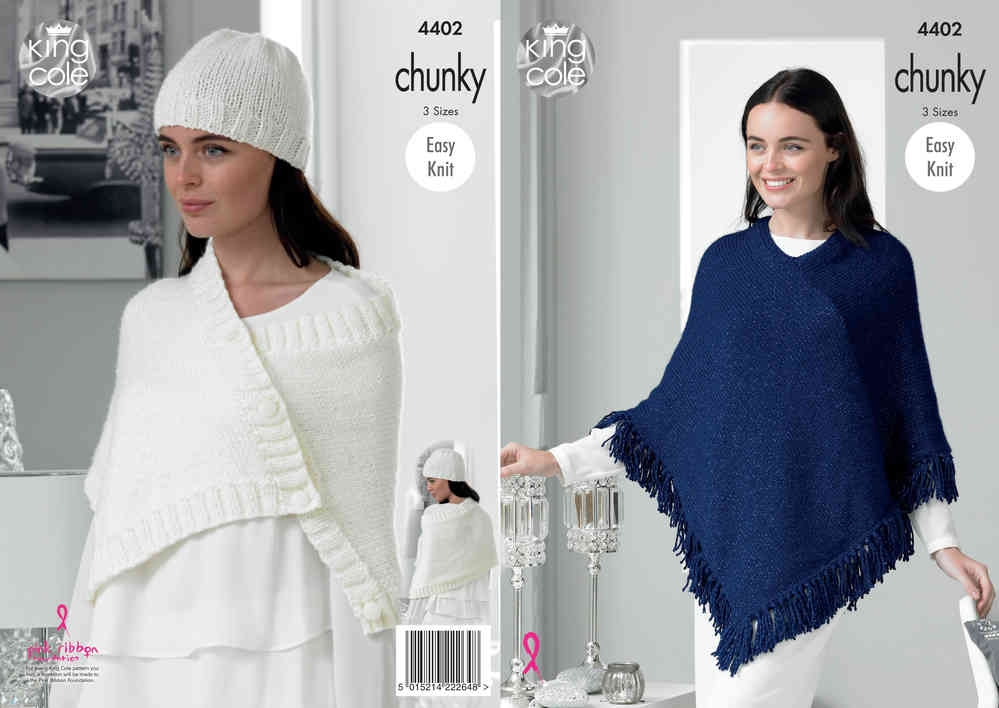 King Cole 4402 Knitting Pattern Ladys Poncho Wrap Poncho And Hat