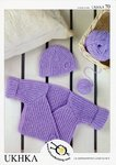 UKHKA 70 Knitting Pattern Wrap Cardigan and Hat in Baby DK