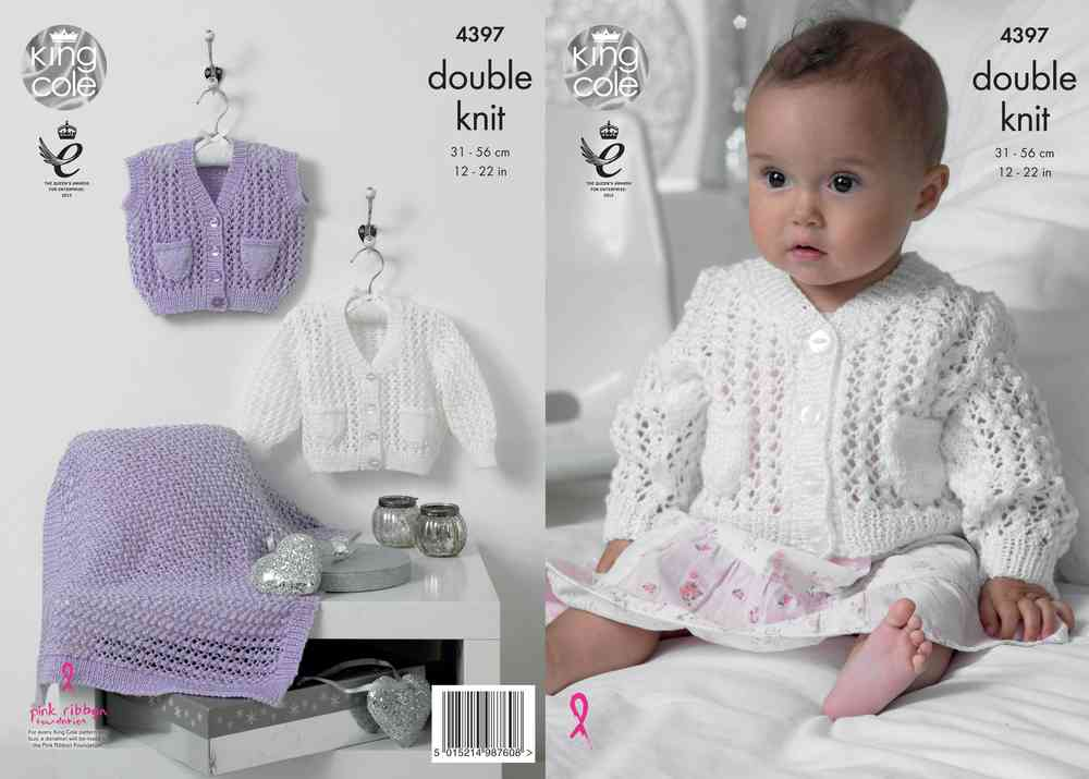 4d42bd9f4bd4 King Cole 4397 Knitting Pattern Cardigan