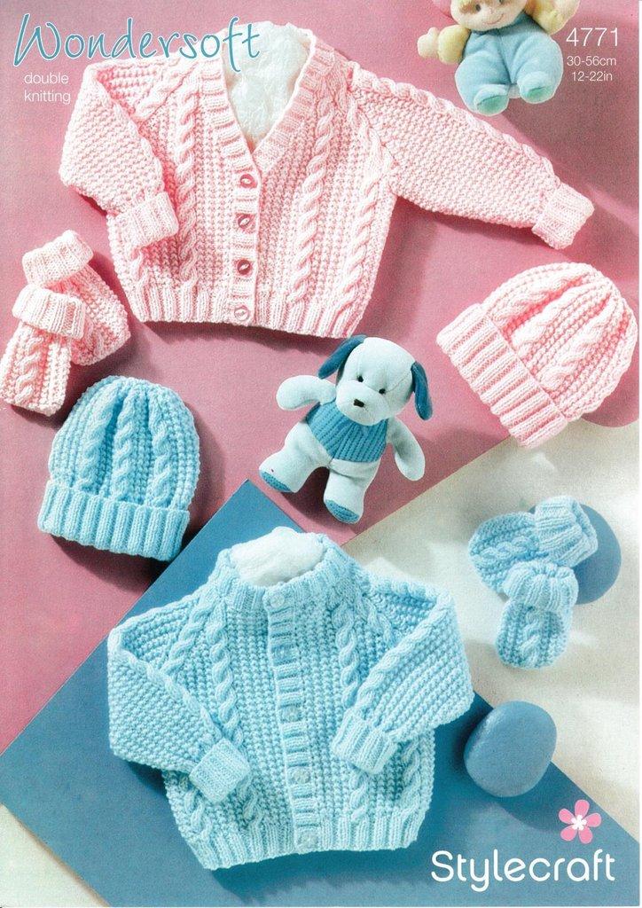 Stylecraft 4771 Knitting Pattern Babies Cardigan Hat and ...