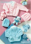 Stylecraft 4771 Knitting Pattern Babies Cardigan Hat and Mittens in Wondersoft DK
