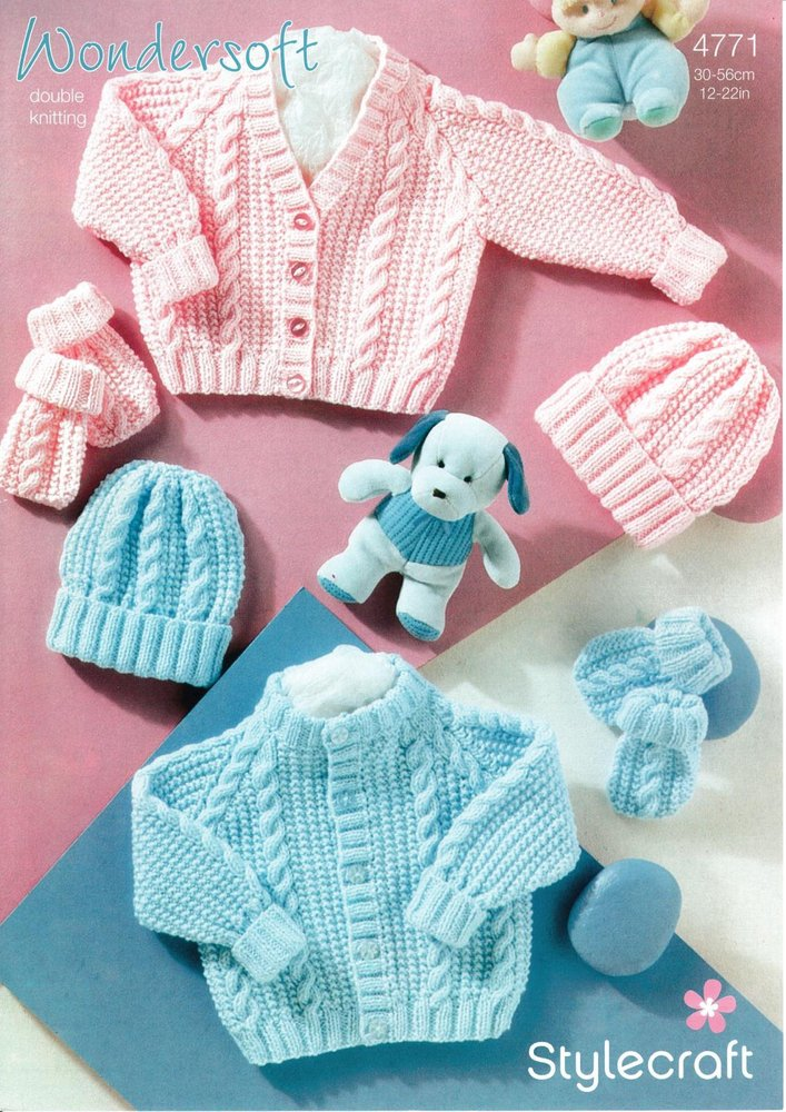 Stylecraft 4771 Knitting Pattern Babies Cardigan Hat And Mittens In