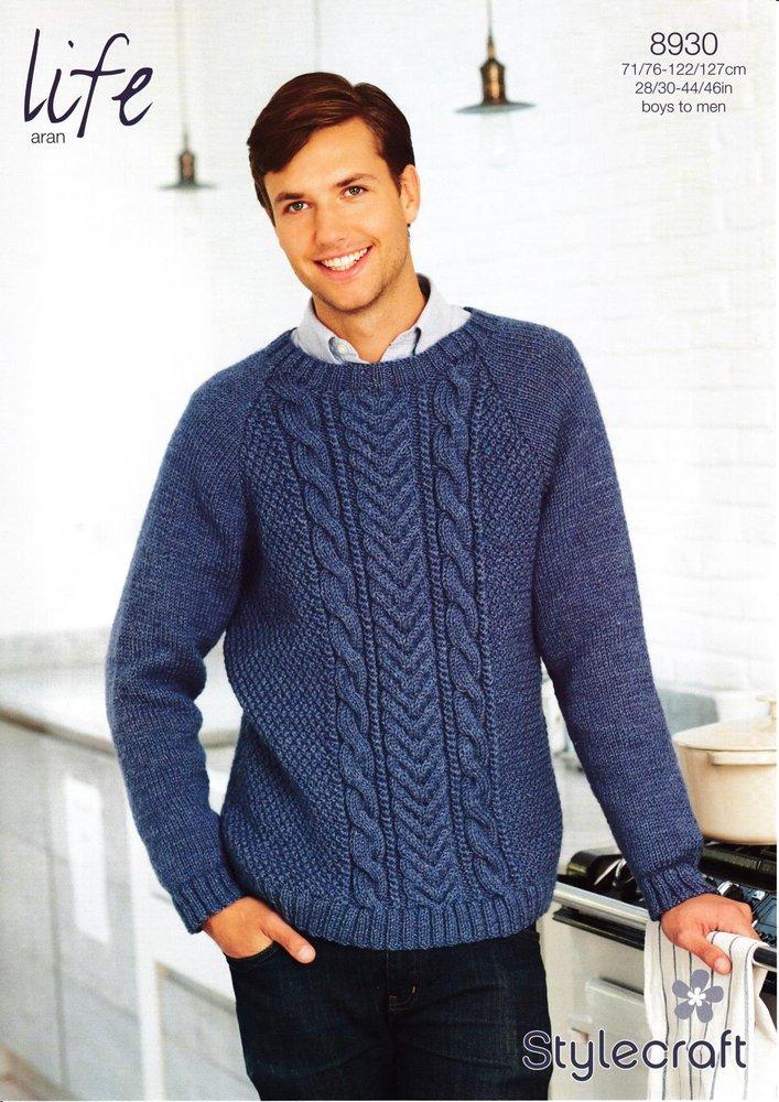 Stylecraft 8930 Knitting Pattern Men S Boy S Sweater In Life Aran