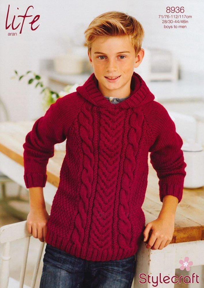 7e6a15a077ab Stylecraft 8936 Knitting Pattern Boys   Mens Hoodie in Stylecraft ...