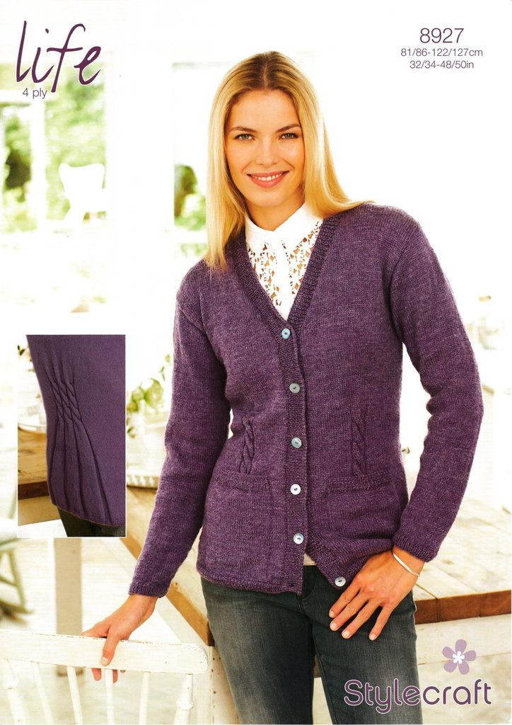 Stylecraft 8927 Knitting Pattern Cardigan in Stylecraft Life 4 Ply ...
