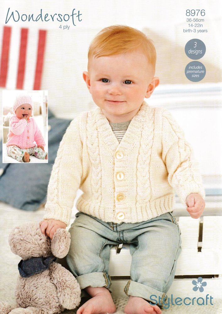 49841426cdfd Stylecraft 8976 Knitting Pattern Cardigans and Hat in Wondersoft ...