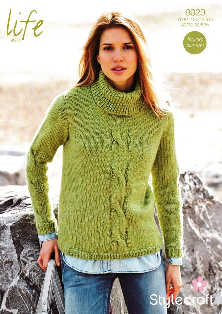 Stylecraft 9020 Knitting Pattern Ladies Sweater In Life Aran Athenbys