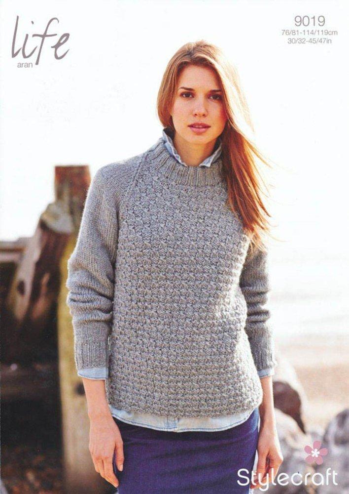 Stylecraft 9019 Knitting Pattern Ladies Raglan Sweater In Life Aran