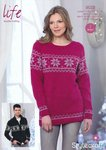 Stylecraft 9028 Knitting Pattern Christmas Sweater and Jacket in Life DK