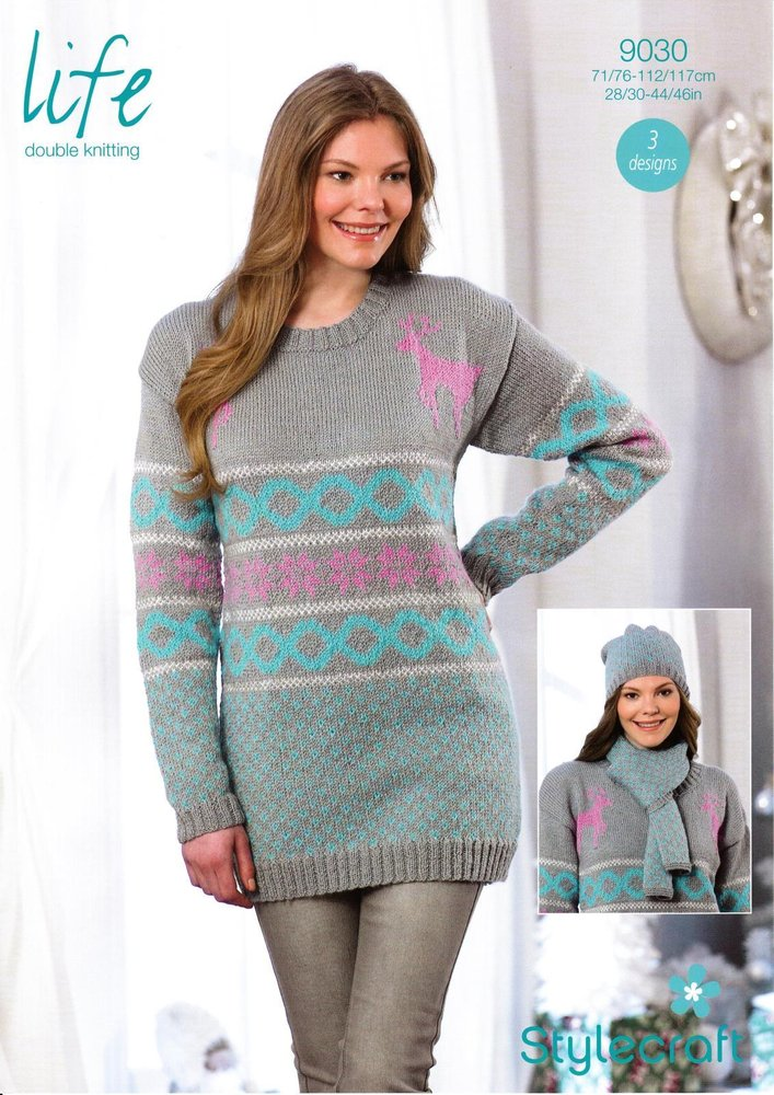 Stylecraft 9030 Knitting Pattern Ladies Christmas Sweater Hat And