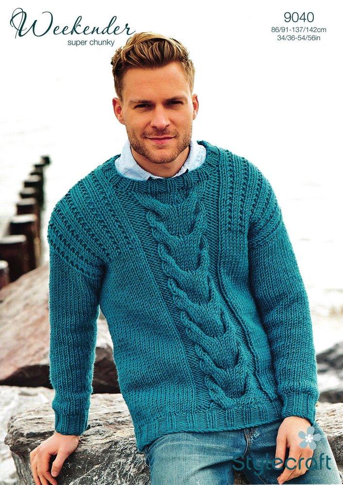 Stylecraft 9040 Knitting Pattern Mens Sweater in Weekender Super ...