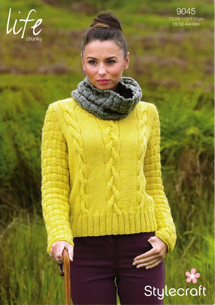 Stylecraft 9045 Knitting Pattern Ladies Sweater and Cowl Collar in ...