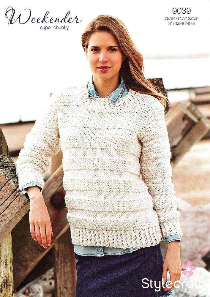 7b0a6fd7e42f9d Stylecraft 9039 Knitting Pattern Ladies Sweater in Weekender Super Chunky -  Athenbys