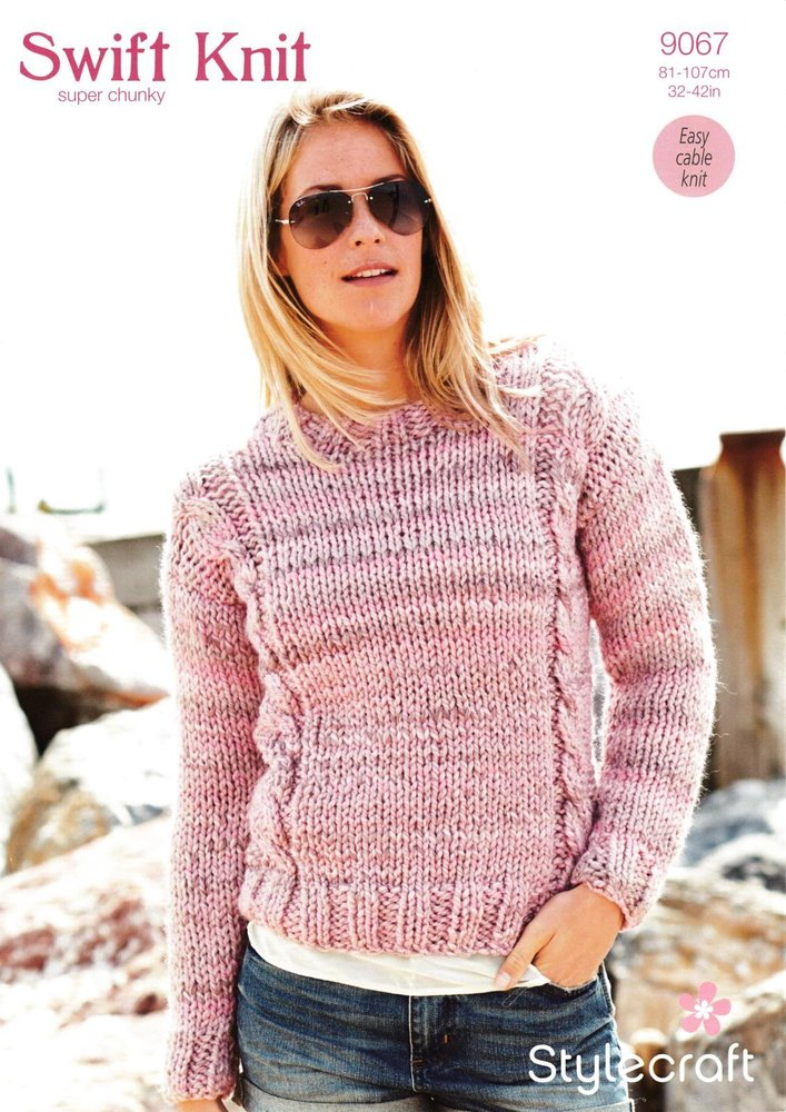 Stylecraft 9067 Knitting Pattern Ladies Cable Sweater in Swift Knit ...