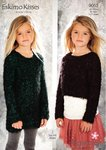 Stylecraft 9053 Knitting Pattern Girls Cropped Sweater and Dress in Eskimo Kisses DK