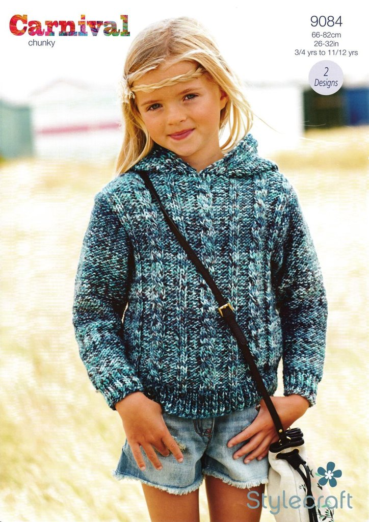 Stylecraft 9084 Knitting Pattern Girls Cable Sweater and Hoodie in ...