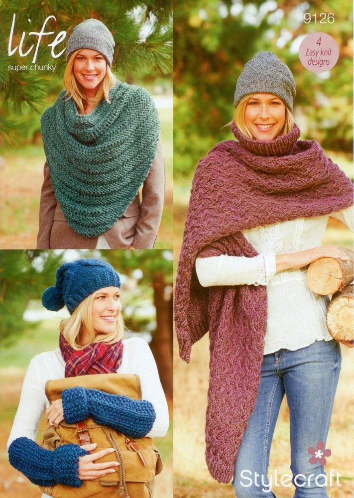 Stylecraft 9126 Knitting Pattern Ladies Hat Scarf Gauntlets Cowl In