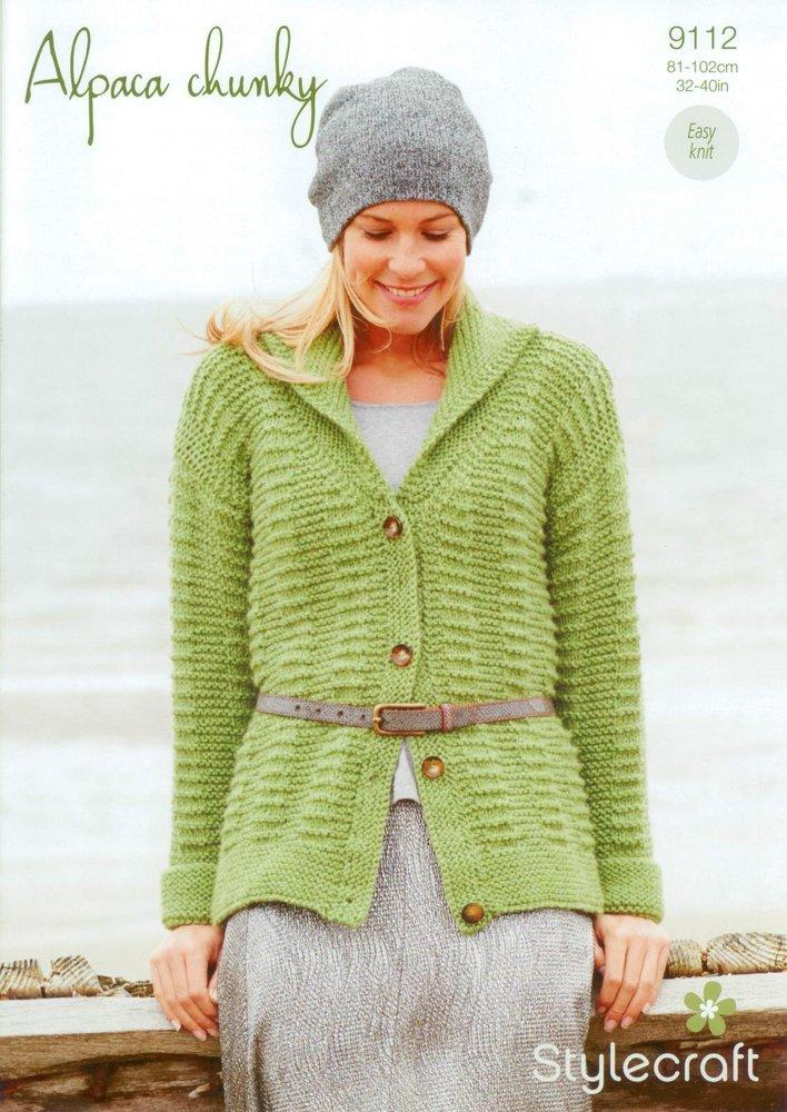 Stylecraft 9112 Knitting Pattern Ladies Cardigan In Alpaca Chunky