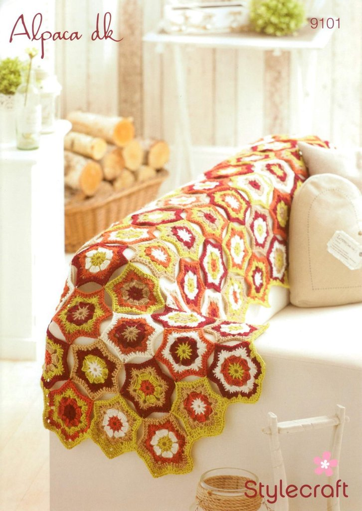 Stylecraft 9101 Crochet Pattern Star Motif Runner In Alpaca Dk