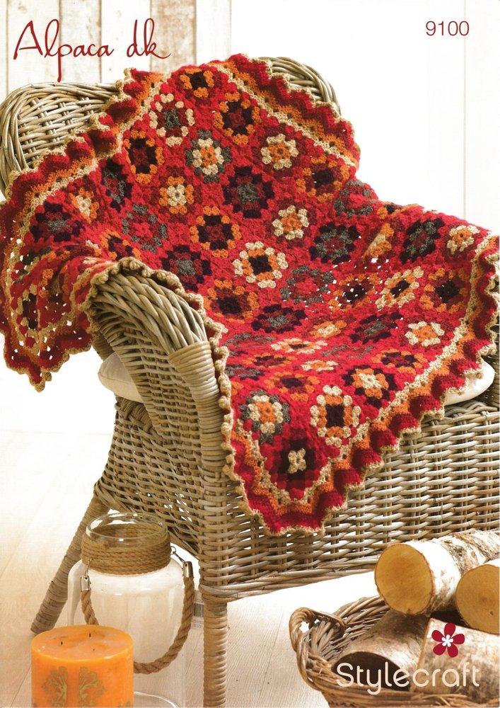 Stylecraft 9100 Crochet Pattern Square Blanket in Alpaca DK - Athenbys