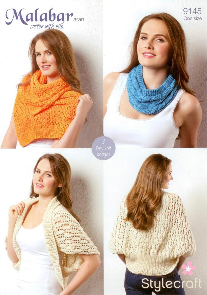 Stylecraft 9145 Knitting Pattern Ladies Shrug Cowl and Scarf in ...