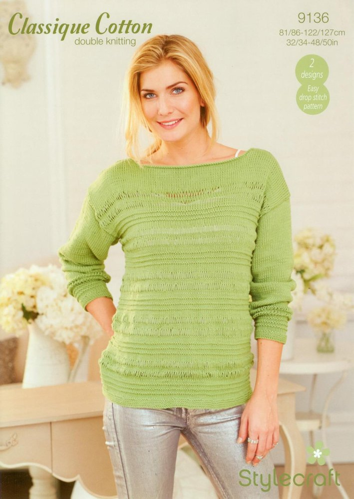 d4b6837ab69c Stylecraft 9136 Knitting Pattern Ladies Sweater and Top in Classique Cotton  DK - Athenbys