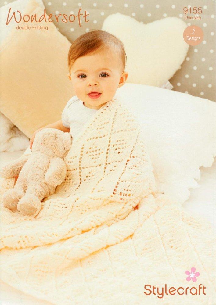Stylecraft 9155 Knitting Pattern Baby Shawls In Wondersoft Dk Athenbys