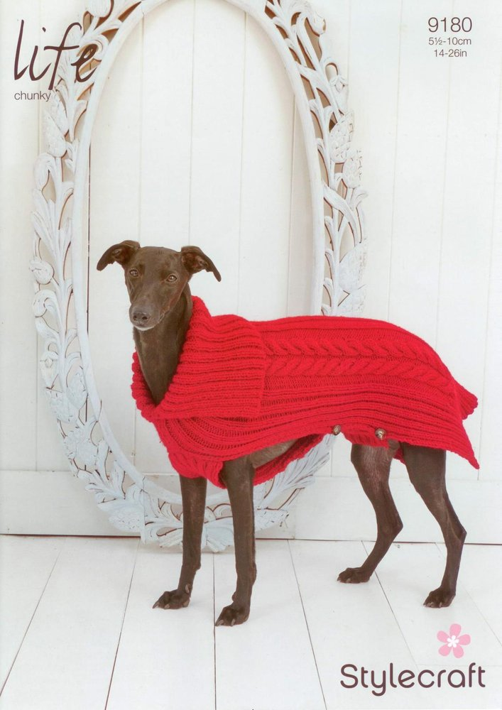 Stylecraft 9180 Knitting Pattern Cabled Dog Coat in Life Chunky ...
