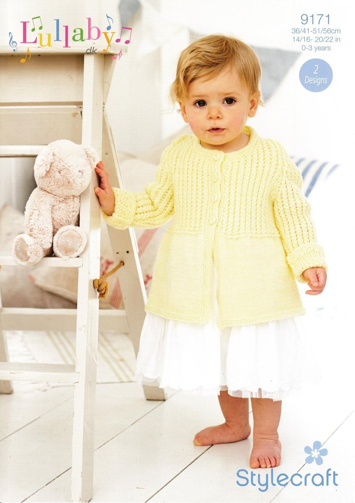 Stylecraft 9171 Knitting Pattern Baby Long Cardigan And Dress In