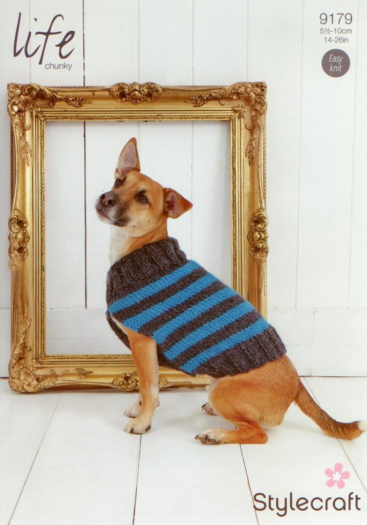 Stylecraft 9179 Knitting Pattern Striped Dog Coat In Life Chunky