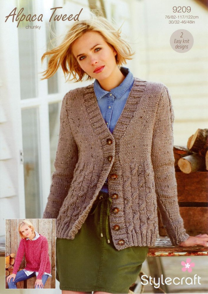 Stylecraft 9209 Knitting Pattern Checkerboard Cable Cardigan And