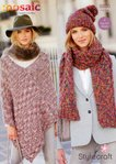 Stylecraft 9200 Knitting Pattern Poncho, Beret and Scarf  in Stylecraft Mosaic Super Chunky