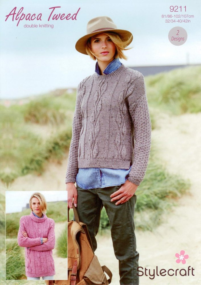 13d885284 Stylecraft 9211 Knitting Pattern Sweaters in Stylecraft Alpaca Tweed DK -  Athenbys